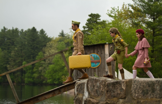 (l to r.) Jason Schwartzman as Cousin Ben, Jared Gilman as Sam, and Kara Hayward as Suzy in Wes Anderson's MOONRISE KINGDOM, a Focus Features release.
